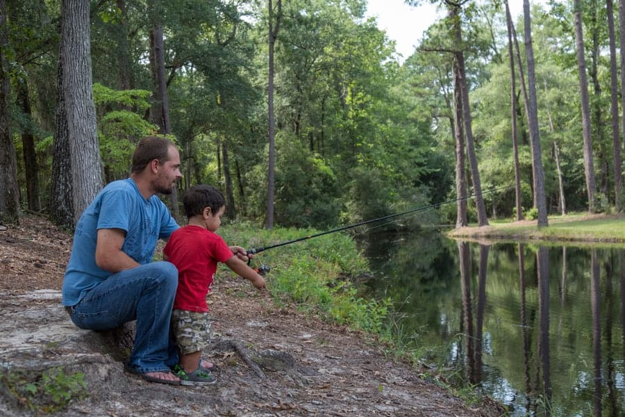 Along the Banks of the Lynches River, Lee State Park Visitors Enjoy Fishing